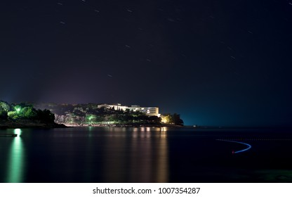 Pula, Isztira / Croatia - 09.11.2015: Hotel Brioni at night. This startrail taken with long exposure, 150 seconds.