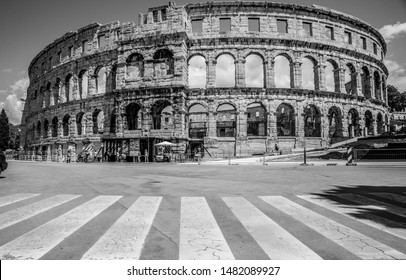 Pula/Croatia - April 28,2019 - The amphitheater from Pula is one of the best preserved arena's from the Roman Empire