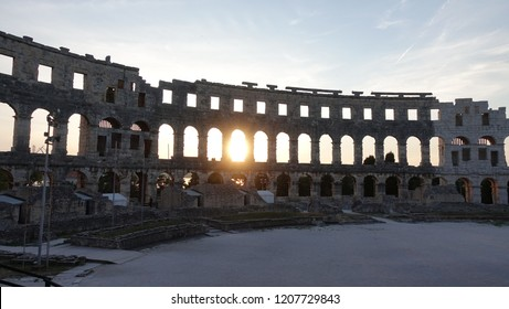 Pula's Roman Amphitheater in Pula, Croatia.