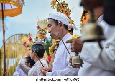 Pulasari Temple, Bangli, Bali, Indonesia, July 2017: Odalan Ritual for Glorify God and Ancestors in Pulasari Temple