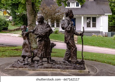 Pulaski, Tennessee, USA - June 23. 2017: Statue commemorating the ordeal of native American Indian tribes at the Trail of Tears Memorial and Museum in Pulaksi.