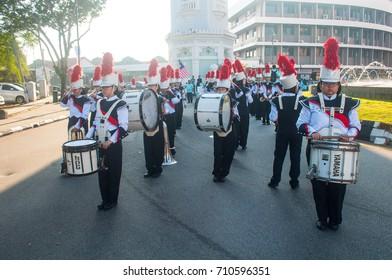 PULAU PINANG, MALAYSIA - 31ST AUGUST 2017; People of Malaysia taking part in Merdeka Day, a celebration of Malaysia's Independence Day at Padang Kota Laman PULAU PINANG