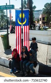PULAU PINANG, MALAYSIA - 31ST AUGUST 2017; People of Malaysia taking part in Merdeka Day, a celebration of Malaysia's Independence Day at DPadang Kota Lama PULAU PINANG