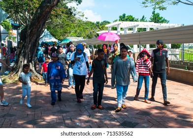 PULAU PINANG, MALAYSIA - 31ST AUGUST 2017; People of Malaysia taking part in Merdeka Day, a celebration of Malaysia's Independence Day at Padang Kota Lama PULAU PINANG