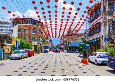 PULI, TAIWAN - MAY 07: This is a road outside the famous Matsu temple in Puli which is decorated with traditional Chinese lanterns on May 07, 2017 in Puli