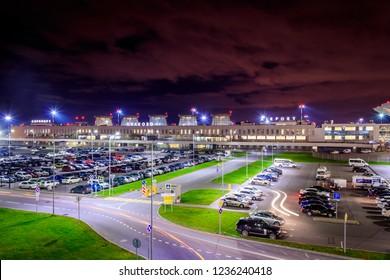 Pulkovo Airport at night. October 2018, Russia, St.Petersburg.