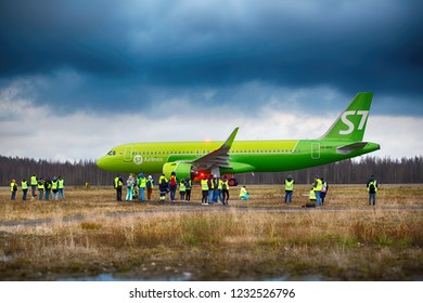 Pulkovo, Saint-Petersburg / Russia - November 22 2017:  Official spotting at Pulkovo airport. Photographers and journalists take pictures of S7 Airlines aircraft.