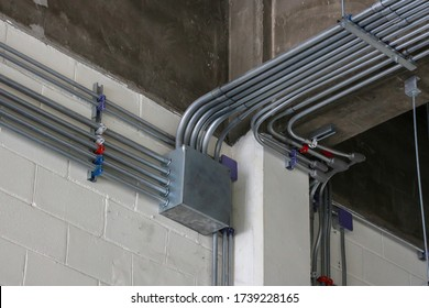 Pull box, IMC conduit installed at the support ,Electrical systems.