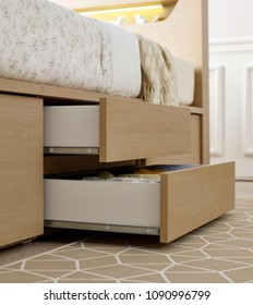pull open drawer wooden in cabinet