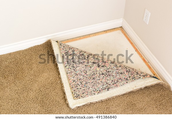 Pulled Back Carpet and Padding In Room of House.
