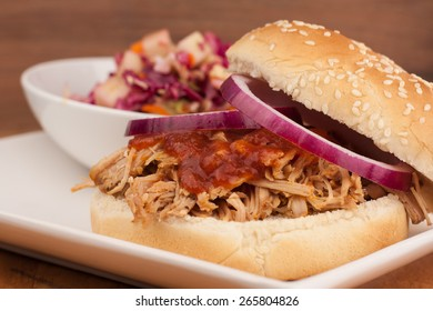Pulled Pork BBQ Sandwich with vinegar-based Apple Cole Slaw