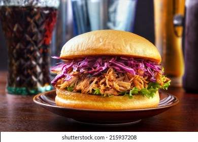 Pulled pork burger with red cabbage salad