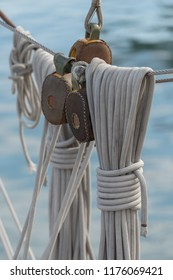 Pulley and rope on old sailing ship