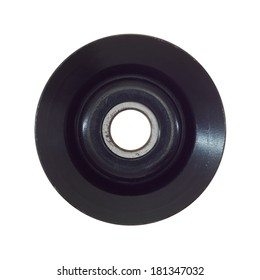 A pulley wheel isolated on a plain background