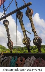 A pulleys with the ropes on the vintage sail ship