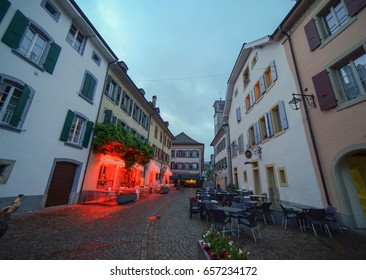 Pully, Switzerland. 3rd June 2017. Nightfall in the quiet streets and lanes of Pully just outside Lausanne in Switzerland.