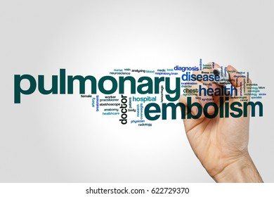 Pulmonary embolism word cloud on grey background