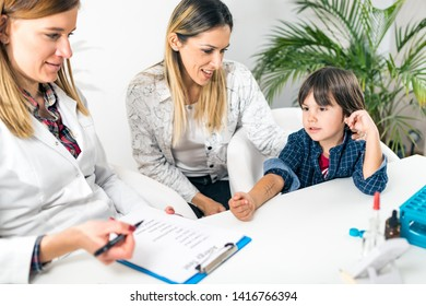 Pulmonologist Doing Skin Allergy Test on Little Boy