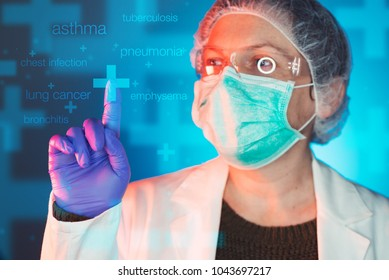 Pulmonologist health professional in hospital clinic. Portrait of female medical specialist treating lung diseases such as asthma, bronchitis, pneumonia, tuberculosis, emphysema and chest infectioon