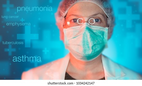 Pulmonologist healthcare professional in hospital clinic. Portrait of female medical specialist treating lung diseases such as asthma, bronchitis, pneumonia, tuberculosis, emphysema, chest infections.