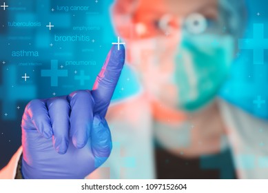 Pulmonologist healthcare professional in hospital clinic. Portrait of female medical specialist treating lung diseases such as asthma, bronchitis, pneumonia, tuberculosis, emphysema and infections