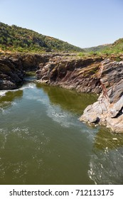 Pulo do Lobo or wolf's leap waterfall and cascade on river Guadiana in vicinity of Mertola, Alentejo, Portugal