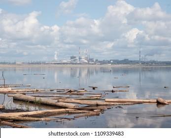 Pulp mill in Bratsk, Siberia, Russia.