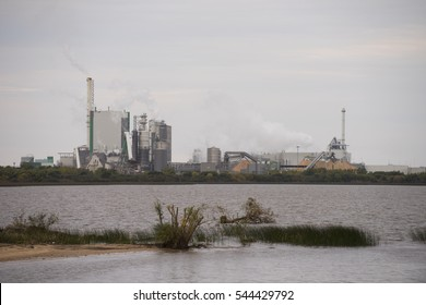 Pulp Mill of Montes del Plata, Colonia District, Uruguay, South America, May 19, 2016. Large pulp mill of Montes del Plata in full production, built in 2009 in Uruguay along Rio Plata.