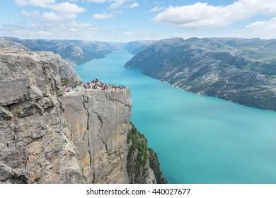 Pulpit Rock / Preikestolen overlooking Lysefjorden in Norway