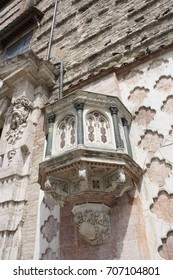 Pulpit of St. Lorenz cathedral in 4 November Square, Perugia Italy