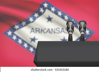 Pulpit with US state flag on background - Arkansas