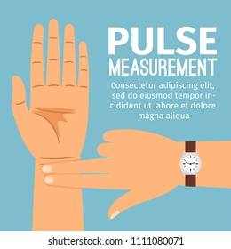 Pulse measurement illustration. One people hand touching another hand for pulse checking medical poster