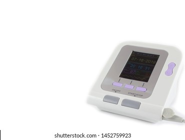 Pulse oximeter. Close-up on pure white background. Monitor showing saturation and pulse rate of patient.
