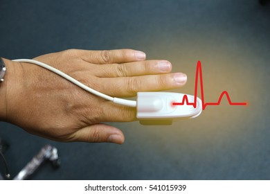 pulse oximeter on the patient's hand. photo. Medical concept