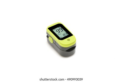 Pulse oximeter on white background.