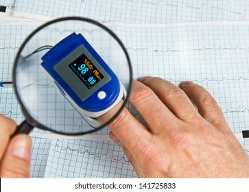 A pulse oximeter used to measure pulse rate and oxygen levels with ECG background