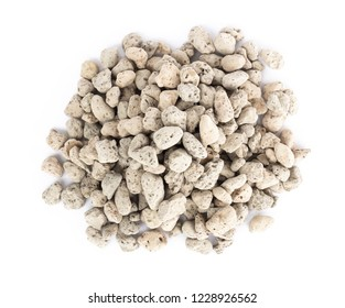 Pumice stone or volcanic rocks on white background for cactus plant, top view