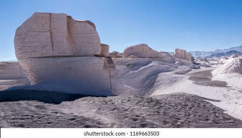 Pumice white stone formations that look like the moon in Catamarca Argentina