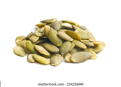 pumkin seeds on white background