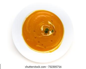 Pumkin soup on white