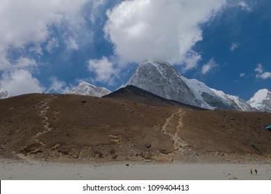 Pumori mt. and Kala patthar view from Gorak shep village