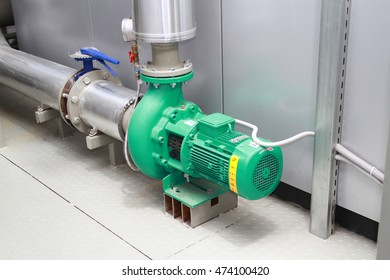 The pump circulating the green colour, established in a boiler-house