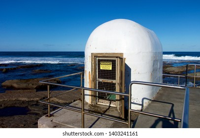 Pump house at the salt water baths in Merewether, Newcastle, NSW, Australia