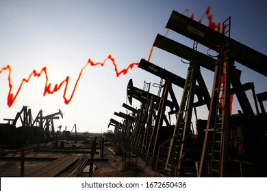 Pump jack and red declining market trend