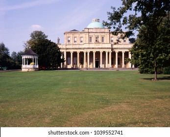 The Pump Rooms, an old spa mineral water building in Pittville Park, Cheltenham, Gloucestershire,UK