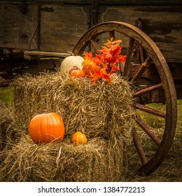 Pumpikins and gourds with an old wagon make a seasonal autumn display on an old wooden wagon