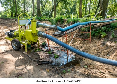 pumping station. groundwater drainage system pumps water out of the ground