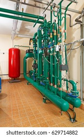 Pumping station in industrial, gas boiler house.