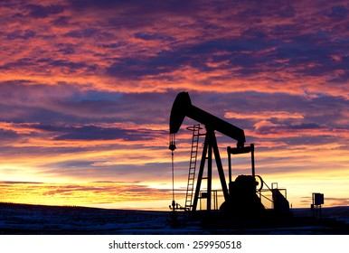 Pumpjack Silhouette with Oil Industry
