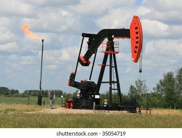 A pumpjack in southern Saskatchewan, Canada.
